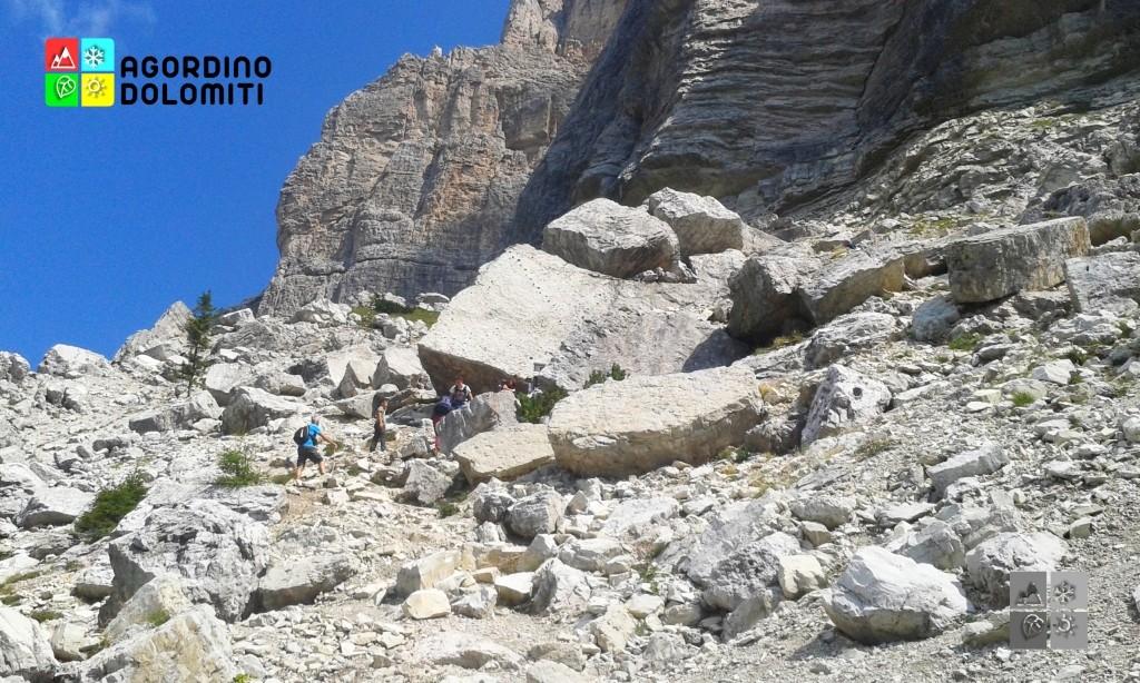 La roccia con le impronte di dinosauro al Pelmetto
