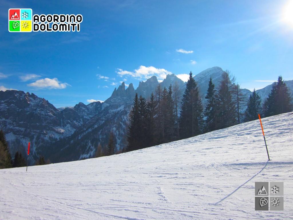 Panorama sul Focobon (Pale di San Martino) da Falcade