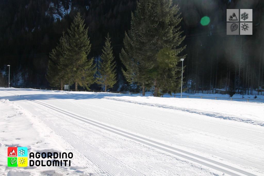 Dettagli delle piste da sci nordico sempre perfettamente preparate
