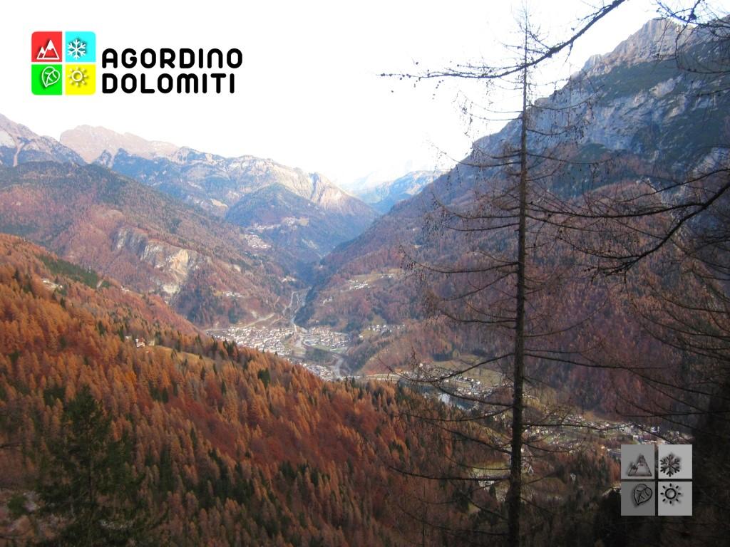 Veduta dall'alto di Cencenighe Agordino dal sentiero verso Malga Ambrosogn